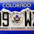 Colorado Honorably Discharged Veteran License Plate (799 WZY)