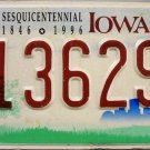 1992 Iowa Sesquicentennial License Plate (113629S)
