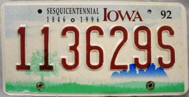 1992 Iowa Sesquicentennial License Plate (113629S)