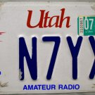 2009 Utah Amateur Radio (Ham Radio) License Plate (N7YXD)