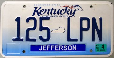 2012 Kentucky License Plate (125 LPN)