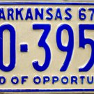1967 Arkansas License Plate (10-3954)