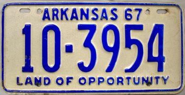 1967 Arkansas License Plate (10-3954)