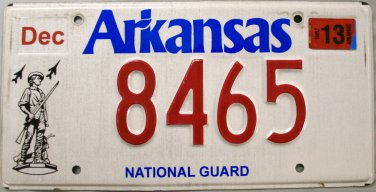 2013 Arkansas National Guard License Plate (8465)