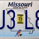 2015 Missouri License Plate (DJ3 L8W)