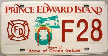 Prince Edward Island Fire Fighter License Plate Canada (F28)