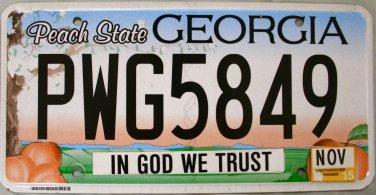 2015 Georgia In God We Trust License Plate (PWG5849)