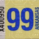 Arkansas: Passenger Plate Year Sticker (1999)