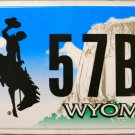 2009 Wyoming License Plate (3 57BA)