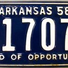 1958 Arkansas License Plate (1-17076)