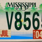 2004 Mississippi Motorcycle License Plate (MC V8565)