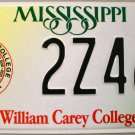 Mississippi: William Carey College License Plate (2Z468)
