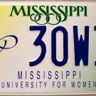 Mississippi: University For Women License Plate (30W34)