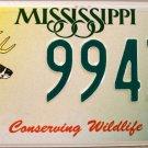2002 Mississippi Conserving Wildlife - Deer License Plate (9943 WD)