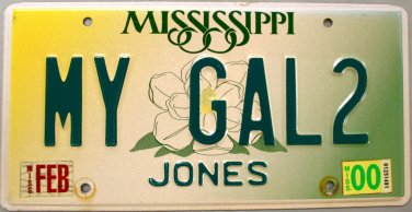2000 Mississippi Vanity License Plate (MY GAL2)
