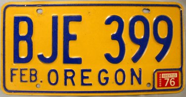 1976 Oregon License Plate (BJE 399)