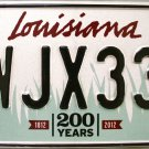 2016 Louisiana License Plate (WJX338)
