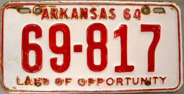1964 Arkansas License Plate (69-817)