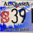 2016 Alabama Active Reserve License Plate (39HL)