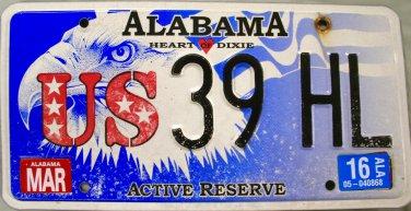 2016 Alabama Active Reserve License Plate (39HL)
