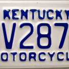 2004 Kentucky Motorcycle License Plate (DV287)