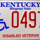 2007 Kentucky Disabled Veteran License Plate (0497 DS)