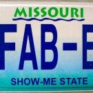 2010 Missouri Vanity License Plate (FAB-E)