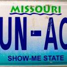 2004 Missouri Vanity License Plate (SUN-AOG)