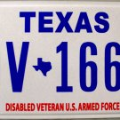Texas Disabled Veteran U.S. Armed Forces License Plate (DV 1664)