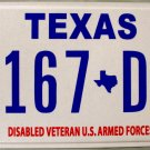 Texas Disabled Veteran U.S. Armed Forces License Plate (1167 DV)