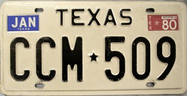 1980 Texas License Plate (CCM 509)