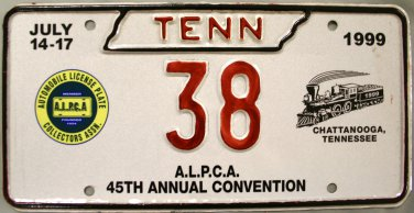 1999 Chattanooga, Tennessee ALPCA 45th Convention License Plate (38)