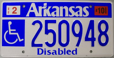 2010 Arkansas Disabled License Plate (250948)