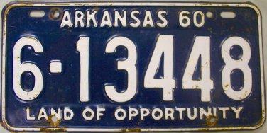 1960 Arkansas License Plate (6-13448)