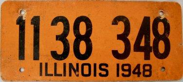 """1948 Illinois """"Fiberboard"""" License Plate (1138 348)"""