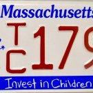 2001 Massachusetts Invest in Children License Plate (TC 1793)
