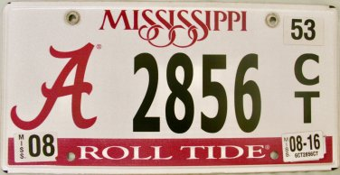 2016 Mississippi: University of Alabama License Plate (2856 CT)