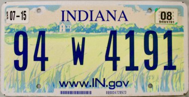 2008 Indiana License Plate (94 W 4191)