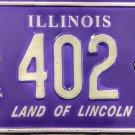 2001 Peoria, Illinois ALPCA 47th Convention License Plate (402)