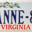 1994 Virginia Cardinal Vanity License Plate (ANNE-83)