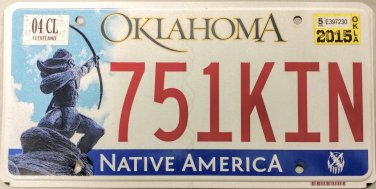 2015 Oklahoma License Plate (751KIN)