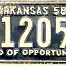 1958 Arkansas License Plate (6-12050)