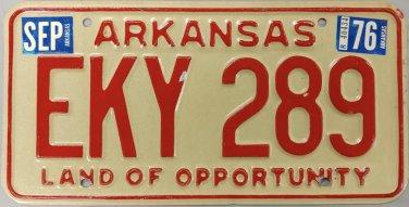 1976 Arkansas License Plate (EKY 289)