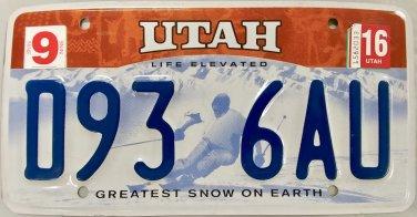 2016 Utah License Plate (D93 6AU)