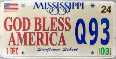 2003 Mississippi God Bless America License Plate (Q93)