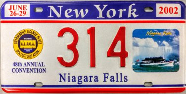 2002 Niagara Falls, New York ALPCA 48th Convention License Plate (314)