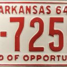 1964 Arkansas License Plate (5-7255)