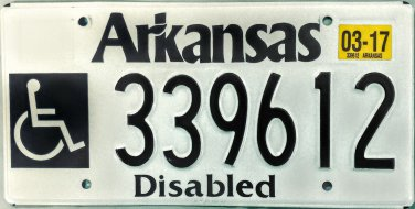 2017 Arkansas Disabled License Plate (339612)