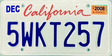 2008 California License Plate (5WKT257)