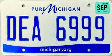2016 Michigan License Plate (DEA 6999)